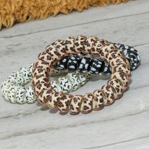 Animal Print Spiral Ponytail Holder - Leopard